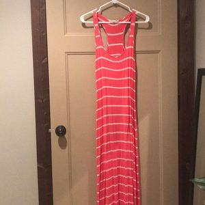 Pink and white stripe racer back maxi dress